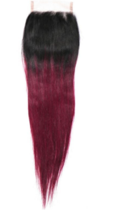 Raspberry High Ombre Straight Closure